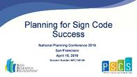 Planning for Sign Code Successumber cover