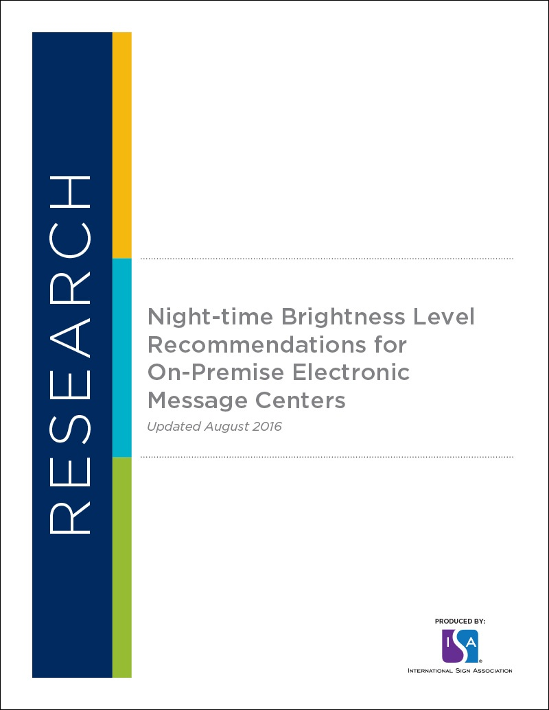 Night-time Brightness Level Recommendations for On-Premise Electronic Message Centers